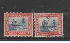 SOUTH WEST AFRICA #109a-b  1931-7  1p  CAPE CROSS    F-VF USED  a