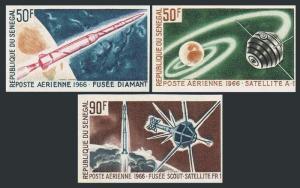Senegal C43-C45 imperf,MNH.Michel 324B-346B. France-Space,1966.A-1,Diamant,FR-1.