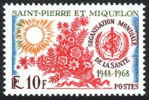 St Pierre & Miquelon 377, MNH. WHO, 20th anniv. Sun, Flowers, 1968