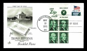 US #1278b  Thomas Jefferson Booklet Pane First Day Cover - CV$11.50 (ESP#039)