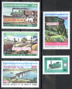 Burma Sc# 261-265 MNH 1977 Trains