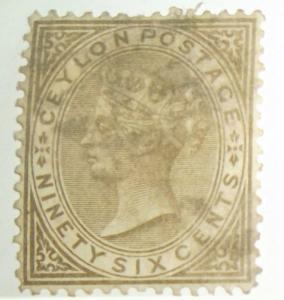 Ceylon 1872-80 Scott #73 96c W/Very Light Cancel Free US Shipping