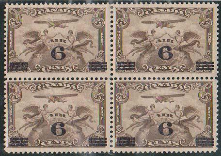 Canada USC #C3 Mint 1932 6c on 5c Airmail Block of Four - F-NH