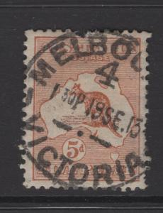 Australia 1913 Stamps 5d Kangaroo  & Map Scott 7 F