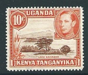 KENYA, UGANDA & TANGANYIKA SG134b 1941 10c RED-BROWN & ORANGE p14 MTD MINT