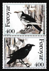 Faroe Is. Birds Ravens 2v pair from booklet SG#277-278 MI#283-284 SC#287-288