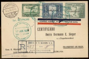 El Salvador 1936 Germany Hindenburg Zeppelin Si419 Registered Flown Cover 93840
