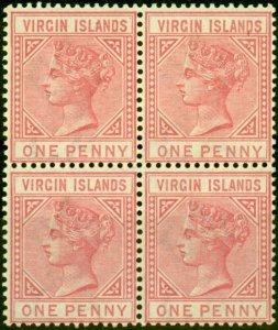 Virgin Islands 1883 1d Pale Rose SG29 Fine MNH Block of 4
