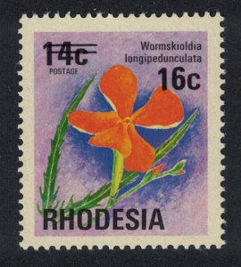 Rhodesia Wild Pimpernel Flower 16c Overprint SG#527