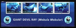Gibraltar-Sc#1037-unused NH set-Marine Life-WWF-Giant Devil Ray-2006-