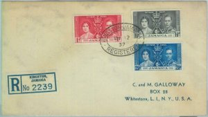 83375 - JAMAICA  - POSTAL HISTORY - Registered  FDC COVER 1937 - ROYALTY