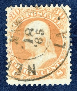 [0181] 1861 Scott#71 used with year date 1865 cv:$225