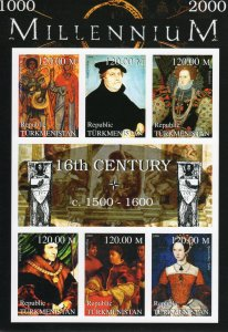 Turkmenistan 1999 Luther-Elizabeth I-Thomas More-Mary Tudor 16th.Cent.IMPERF.MNH