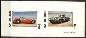 {ST193} Staffa Scotland Cars (2) Sheet of 2 Imperf. MNH Local Cinderella !!