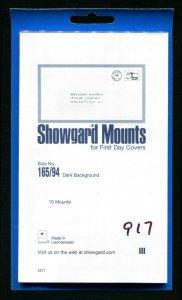 Showgard Black Stamp Mounts  165/94 PreCut  (10 count)