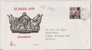 Malta Sc#465 Used on Europa 1978 FDC Postmarked 1979 - unusual
