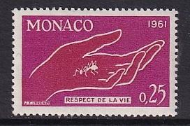 Monaco  #482   MNH  1961  respect for life   hand and ant