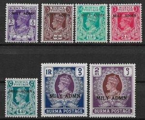 1945 Burma set of 7 with MILY ADMN overprint MH
