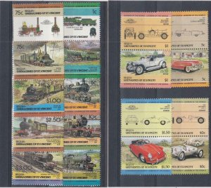 ST. VINCENT GRENADINES (MM281,A)  VF-MH VARc,$ 1984  BEQUIA CARS /TRAINS PAIRS