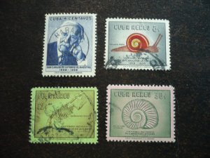 Stamps - Cuba - Scott#607,C182-C184 - Used Set of 4 Stamps