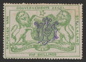 BECHUANALAND Stellaland 1886 Arms Revenue 5/- green, monogram h/s.