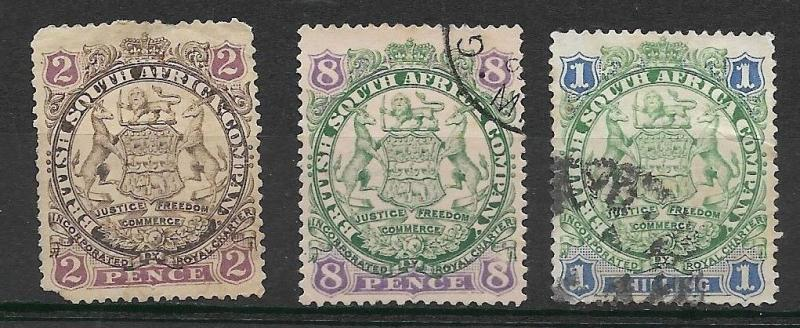 Rhodesia - BSAC- 1896 - ARMS, Die 1 - Shaded Lion - USED - 2d, 8d., 1s