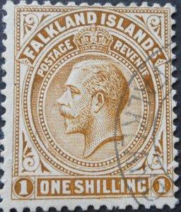 Falkland Islands 1912 GV 1/- SG 65 used