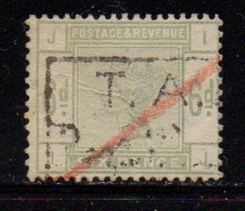 Great Britain Sc 105 1887 6d green  Victoria stamp used