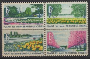 US 1969 Beautification of America BLK 4 Stamps 6c Scott 1368a MNH