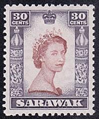 Sarawak # 207 hinged ~ 30¢ Elizabeth II