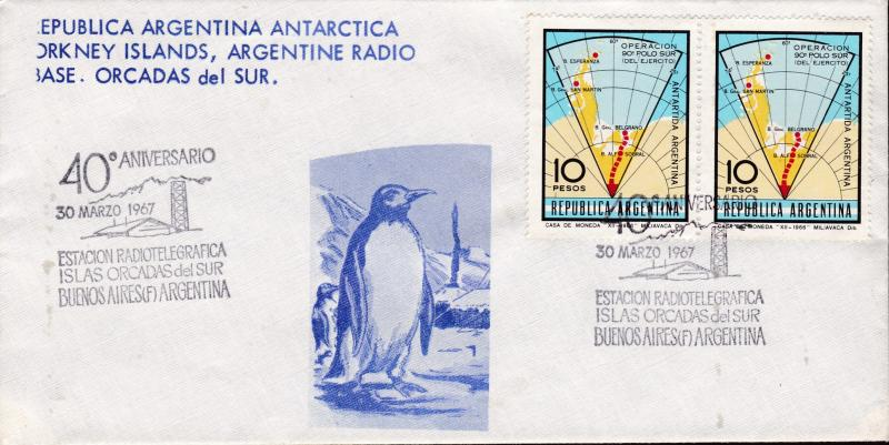Argentina 1967 40th Anniversary of the Radio Station at Antarctic Base Penguins