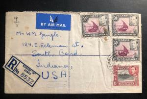 1950 Nairobi Kenia KUT Airmail Registered Cover to South Bend IN USA