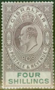 Gibraltar 1903 4s Dull Purple & Green SG53 Fine & Fresh Lightly Mtd Mint (3)