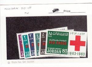 J25757  jlstamps 1963 jordan set mnh #413-8 red cross all checked