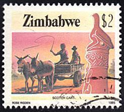 Zimbabwe # 513 used ~ $2 Mule-drawn Scotch Cart