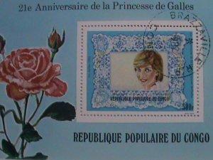 CONGO: BEAUTIFUL LOVELY PRINCESS DIANA 21ST BIRTH  ANNIV:  CTO NH S/S