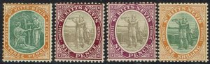 ST KITTS NEVIS 1905 COLUMBUS & MEDICINAL SPRINGS 3D 6D - 2 SHADES AND 1/- WMK CR