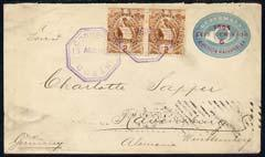 Guatemala 1896 6 cent postal stat cover to Germany bearin...
