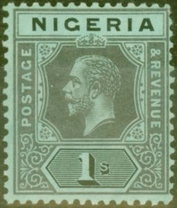 Nigeria 1915 1s on Yellow-Green White Back SG8a Fine Mtd Mint