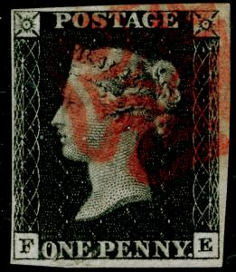 GB 1840 SG2, 1d black PLATE 8, FINE USED. Cat £550. RED MX. FE