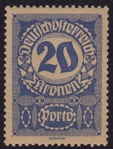 Austria - 1921 - Scott #J92a - mint - Numeral - thick grayish paper