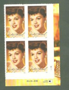 4077 Judy Garland Plate Block Mint/nh FREE SHIPPING