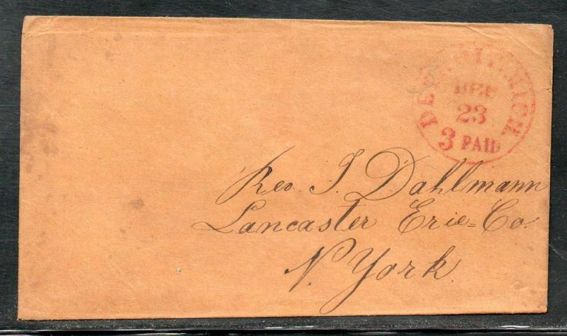 US Stampless Detroit MI 3 Paid to Lancaster NY B910
