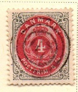 Denmark Sc 18 1870 4s gray & carmine Arms stamp used