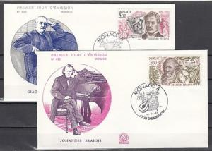 Monaco, Scott cat. 1389-1390. Composers Brahms & Puccini issue. First day cover.