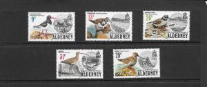BIRDS - ALDERNEY #13-17  MNH