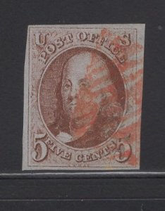US Stamp #1 (e) Rare Double Transfer SSCV $1750
