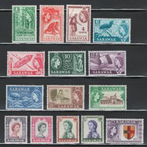 Sarawak 1955 Queen Elizabeth II Definitives Scott # 197 - 211 MH