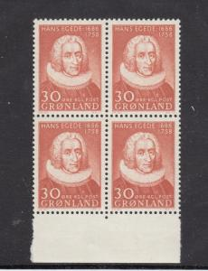 GREENLAND LOT KK88# 46 VF-MNH BLOCK OF 4 CAT VALUE $22.50
