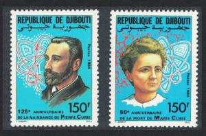 Djibouti Pierre and Marie Curie physicists 2v 1985 MNH SG#939-940 CV£8.50